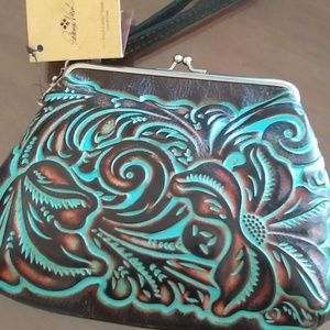 Patricia Nash Tooled Leather Large Wristlet Clutch